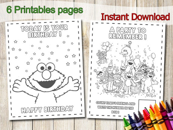 Sesame Street Baby Birthday Party Coloring Pages Elmo Cookie   Etsy   428x570