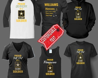 Army Family with Symbol Shirt, Hoodie, or Tank Top with Custom Text -AR402