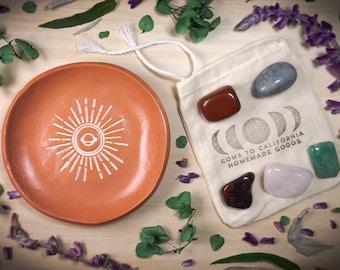 Saturn Sunburst Terra Cotta Jewelry Dish AND Crystals Gift Set
