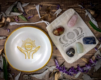 Occult All Seeing Eye Jewelry Tray AND Crystals Gift Set