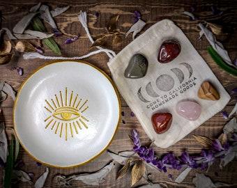 Illuminati Eye Sunburst Jewelry Dish AND Crystals Gift Set