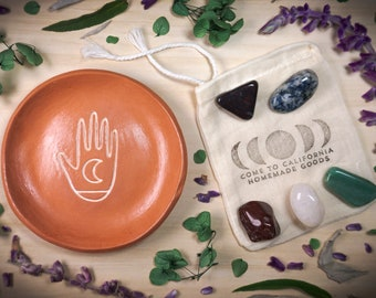 Palm Reader Terra Cotta Jewelry Dish AND Crystals Gift Set