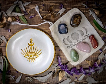 Eye of Providence Masonic Trinket Tray AND Crystals Gift Set