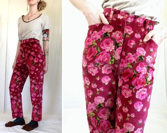 90s Pants, Velour Pants, Size 0 1, Size XS, High Waisted, Floral Pants, Rose, Red, Pink, Crimson, Straight Leg, Colorful Pants, 1990s