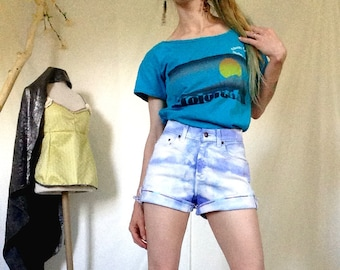 Dyed High Waisted Shorts, Size 0 1 / XS, Blue Dyed, Tie Dye Shorts, White Dyed Shorts, Dyed Vintage, Upcycled Dyed, Recycled Vintage, Boho
