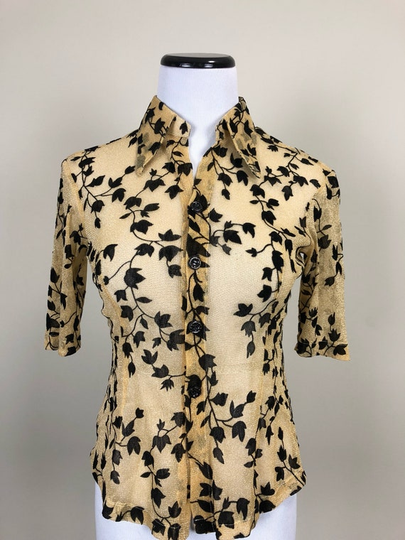 60's Gold Lurex with Velvet Floral Pattern Blouse