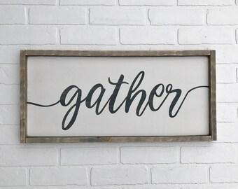 """GATHER SIGN   11.75""""x25.5""""     framed wood sign   farmhouse decor   farmhouse sign   rustic sign   home decor"""
