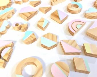 Pastel Wooden Blocks Etsy