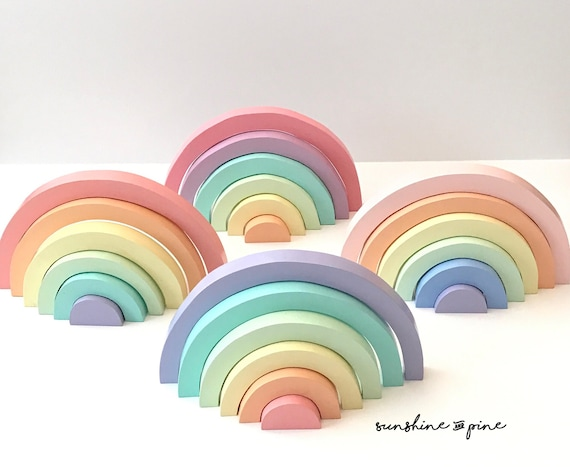 Wooden rainbow CLASSIC pastel unicorn nesting stacker