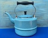 Paula Deen Signature Enamelware Tea Kettle Blue Speckled Stove Top,Large kettle Teapot,Blue Teapot,