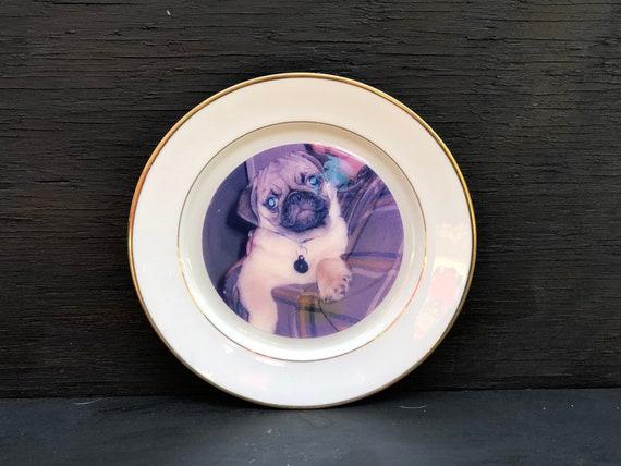 Vintage Pug Porcelain Platedecorative Platecollector Etsy