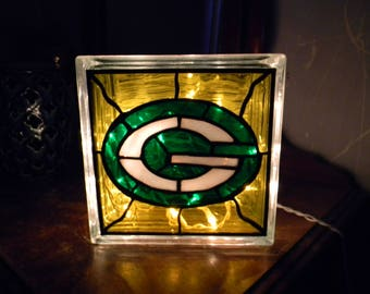 Green Bay Packers Football Reclaimed Glass Block Light/Nightlight Leaded Stained Glass