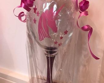 Gift Wrapped Unicorn Purple Glitter Glass