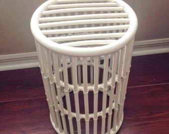 Vintage Handmade White Wicker Rattan Plant Stand Basket Side Glass Table