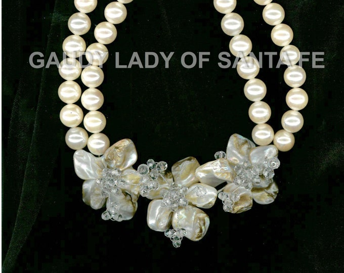 White Glass Pearls with Shell Flower and Chrystal  Center