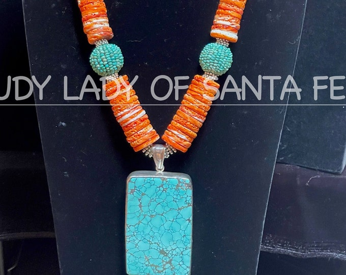 Orange Spiny Oyster Turquoise Square Pendant Beaded Ball Bead