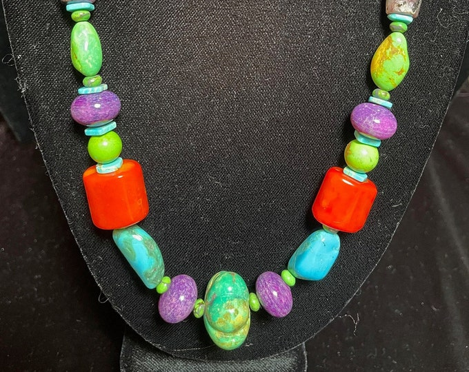 Turquoise Coral, Purple Stone. Colorful, Bright, Single Strand Necklace