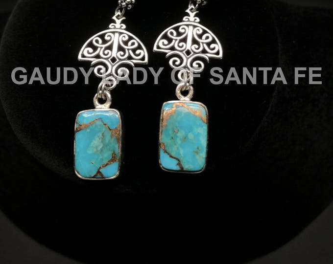Turquoise Earrings Sterling Squares on Filigree Dangle