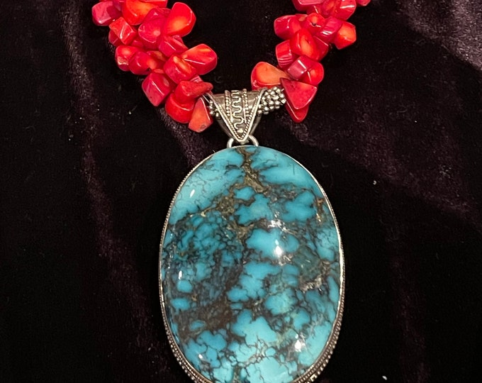 Coral Teardrops Necklace with Turquoise Pendant and Slides