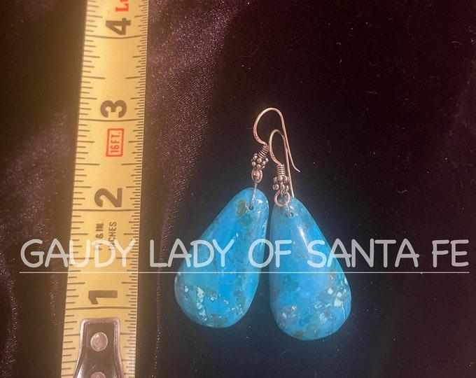 Turquoise Block Teardrop Earrings #2 SPECIAL PRICE GROUP