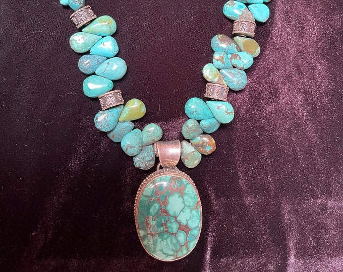 Turquoise Teardrops Oval Pendant Sterling Trim