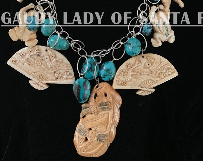 Turquoise & Bone Carvings Asian Style Charms