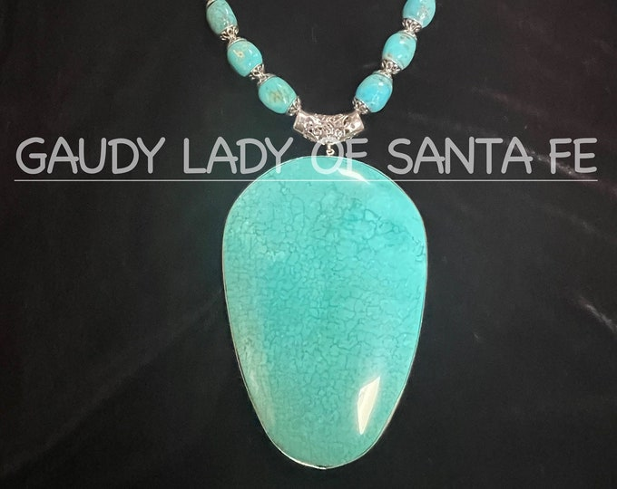 Turquoise Pendant Necklace with Sterling Silver Trim