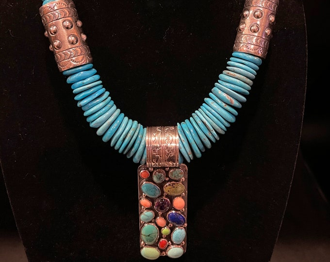 Turquoise with Sterling Barrel and Nakai multi-stone Pendant