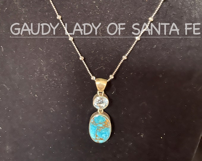 Turquoise, CZ, Pendant Necklace with FREE CHAIN