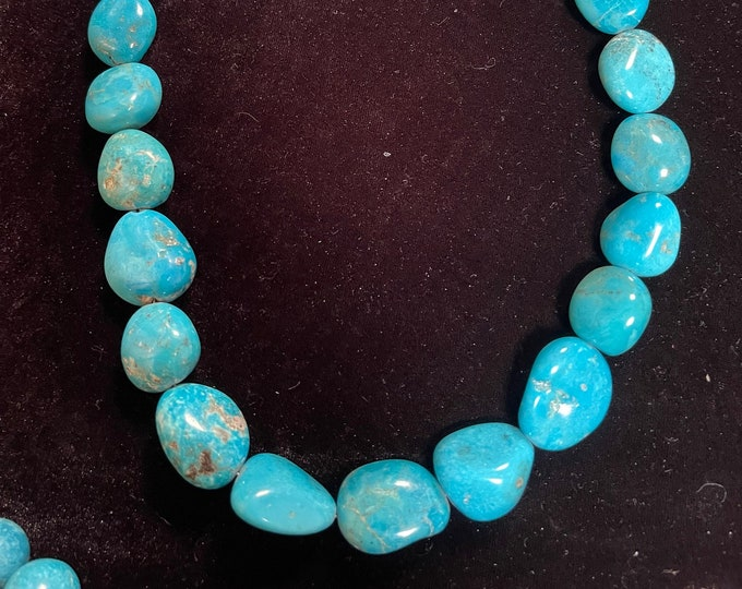 Turquoise Nugget Necklace Bright Blue