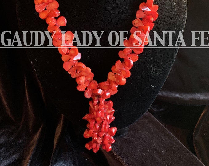 Coral Necklace Teardrops Dangle in Bamboo Coral
