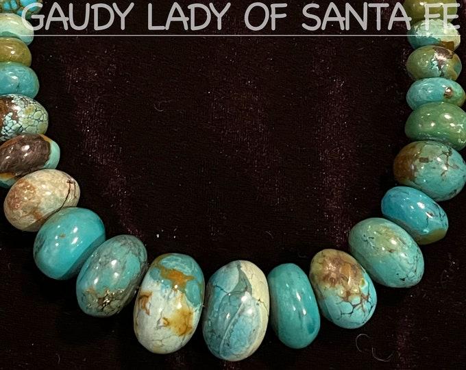 Turquoise Roundel Necklace Graduated Stones
