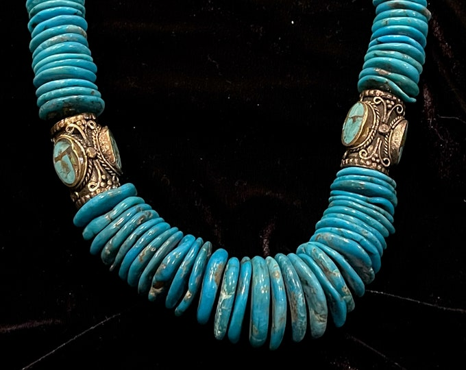 Turquoise Necklace Golden Inlaid Barrels