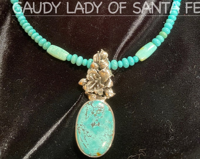 Turquoise Necklace Flower Bail