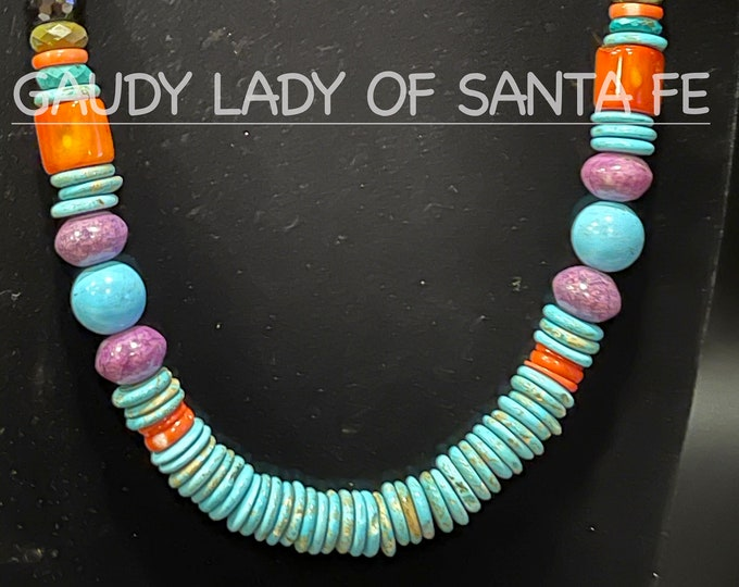 Turquoise coral purple stone Necklace