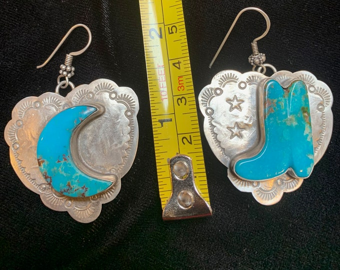 Turquoise Boot Moon Earrings (Kicking the Moon)