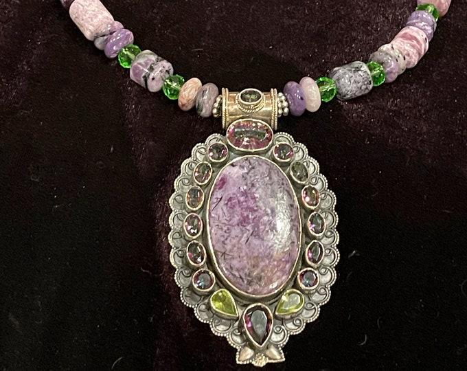 Charoite Mystic Topaz Necklace Pendant
