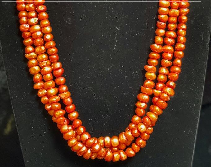 Orange Pearls Three Strand Southwest Design