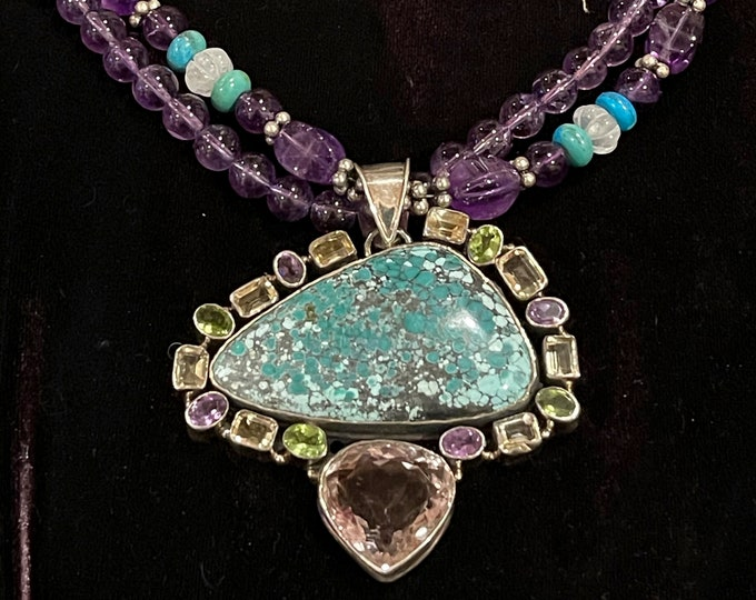 Turquoise Amethyst Necklace with Citrine Peridot Stones