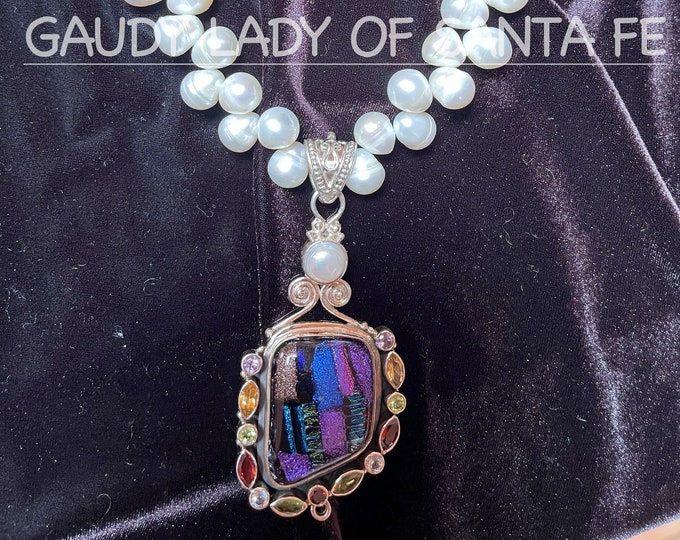 Pearl Dichroic Glass Necklace