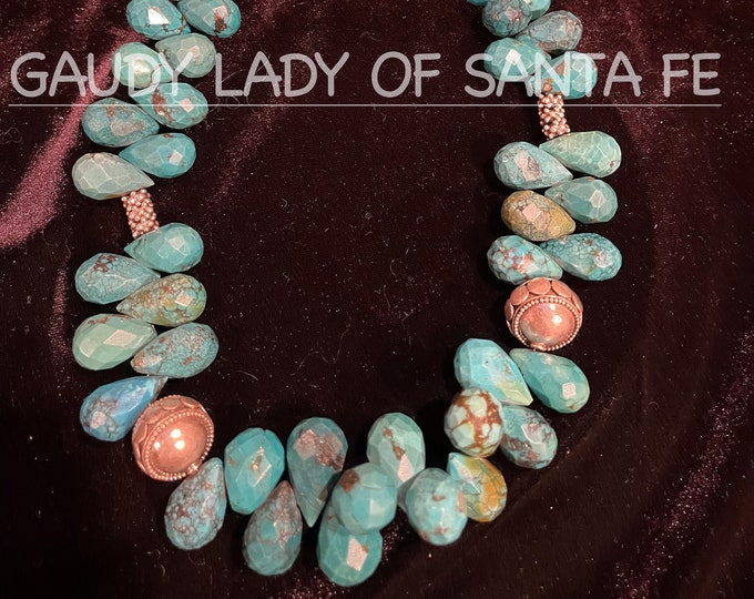Turquoise Teardrop Necklace with Sterling Drum Beads
