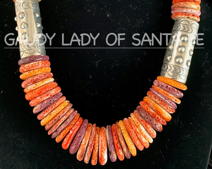 Orange Spiny Oyster, Sterling Silver Barrels