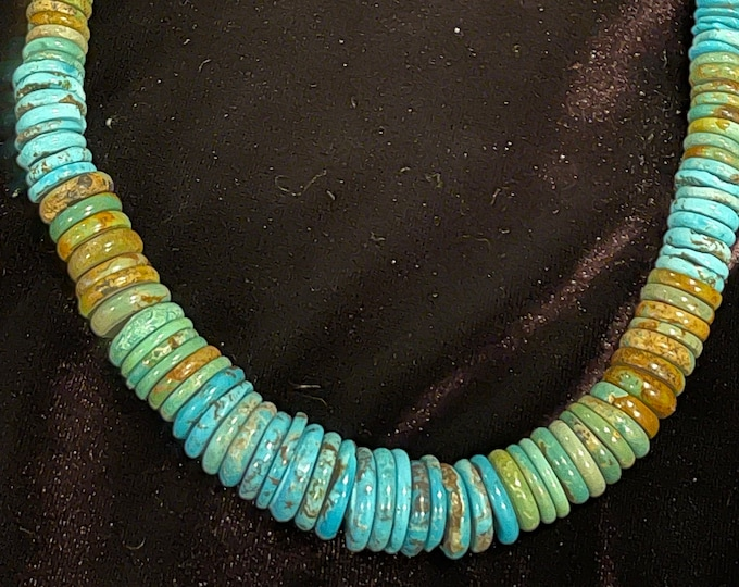 Turquoise Blue Green Necklace Graduated Roundel shaped Stones