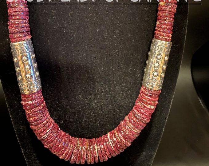 Purple Spiny Oyster Necklace, Silver Barrels