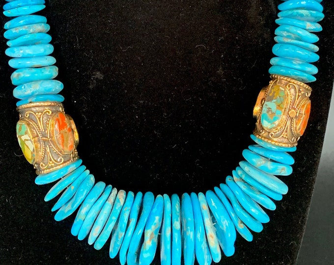 Turquoise Coral Inlaid Barrels
