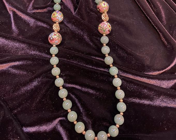 Aventurine Cloisonné Bead Necklace