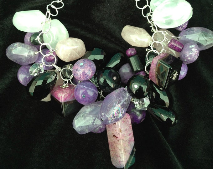 Amethyst Onyx Chrystal Quartz Necklace on Sterling Silver Chain