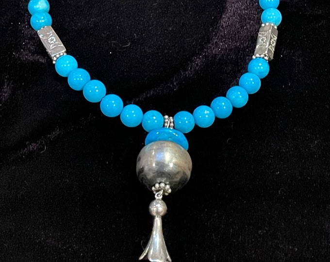 Turquoise Howlite Necklace Naja Dangle