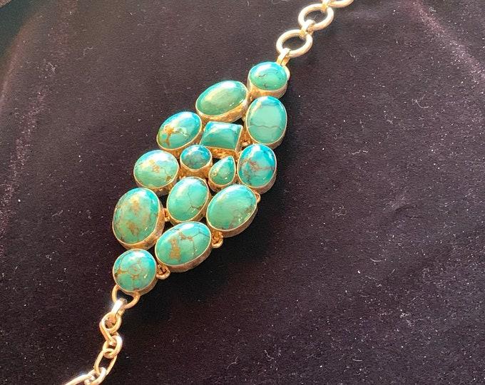 Turquoise Cluster Bracelet Copper Matrix