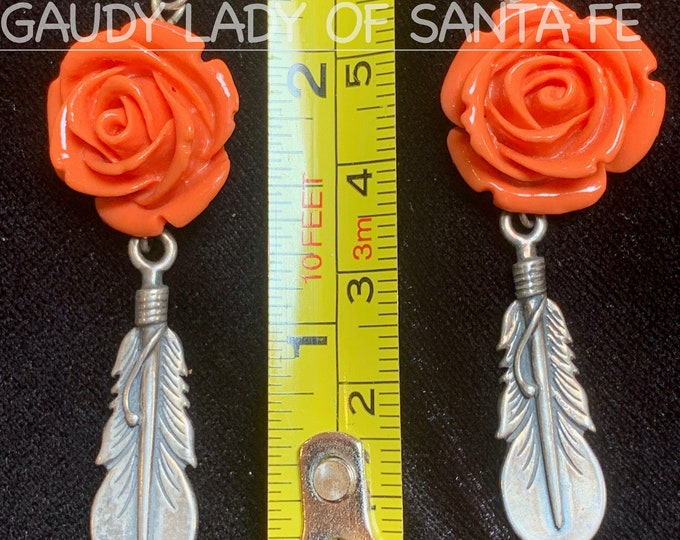 Coral Rose Feather Earrings